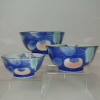 Nesting Bowls Andrea by Sadek Blue 3-D Raised Embossed Fruit Design 3 pc set