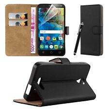 Wallet Flip Book Stand View Card Case Cover for Alcatel Pop 4 Plus (5.5) Black