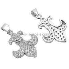 Silver Fleur De Lis Lily Charm Pendant with Man Made Diamond Simulants #MCAC23