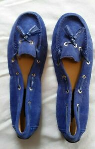 TALBOTS NWOT Blue Driving Moccasins Sz 6 Suede Uppers
