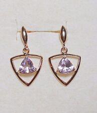 925 St silver studs, rose-gold plt'd, Rose-d-Amethyst  2.00 carats