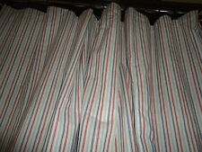 CUSTOM RED BLUE WHITE TICKING STRIPES (2PC) BLACKOUT DRAPERY PANELS (76) 152X93