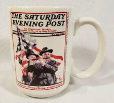 Ceramic Coffee Cup Mug Saturday Evening Post Norman Rockwell Patriotic War Vets