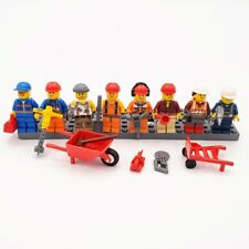 Lego Minifigs Construction Workers Set 8 Tools Foreman Electrician Plumber CW10
