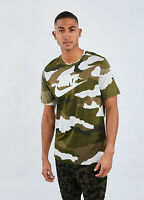 Nike all over print mens Camo Tshirt Camouflage tick logo M L Green Brown NEW