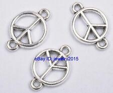 40pcs Tibetan Silver Peace Symbol Charms Pendants Connectors 18mm G3407