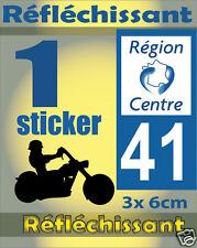 1 Sticker REFLECHISSANT département 41 rétro-réfléchissant immatriculation MOTO