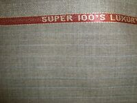 "4 yd HOLLAND SHERRY WOOL FABRIC Cool Wool Super 100s 7.5 oz SUIT Gray 144"" BTP"