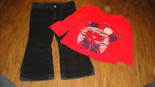 Baby Gap 18-24 2 Yrs 2T Red Girl Shirt Penelope Black Cord Pants