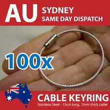 100x Stainless Steel Cable Wire Key Ring Keyring (150mm x 2mm) Free Shipping!
