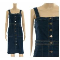 ex M&S Pinafore Denim Midi Button Through Pockets Dress