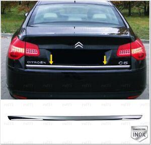 Chrome rear tailgate under trim stainless steel for citroen c5 mk3 sedan 2008-up
