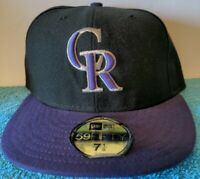 Colorado Rockies New Era MLB AC LC 59FIFTY Cap Black Fitted Hat Size 7 1/8 NWT