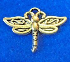 50Pcs. WHOLESALE Tibetan Antique Gold DRAGONFLY Charms Pendants Ear Drops Q0282