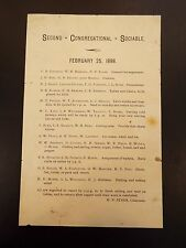 Second Congregational Sociable List of Member Responsibilities 1898