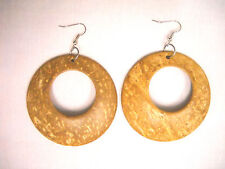 LARGE RUSTIC LIGHT BROWN COLOR COCONUT WOOD DANGLING ROUND HOOP FASHION EARRINGS
