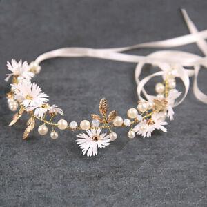 Gold Leaf Daisy Flower Headband Bridal Pearl Tiaras Hair Jewelry Ribbon Wre  JN