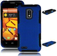 Hybrid Royal Blue Hard Case + Black Soft Silicone Cover for ZTE Warp 4G N9510