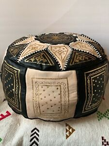 Handmade Moroccan POUF Genuine Leather Pouffe Ottoman Footstool Choose Color