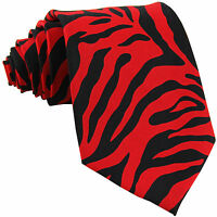 New Vesuvio Napoli Polyester Men's Neck Tie necktie animal zebra print red