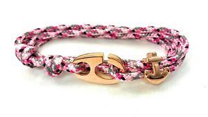 Maritimes Edelstahl Brummel Armband- Paracord Armband-Verstellbar-Sneaky Pink