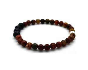 Mens Bead Bracelet Picasso Jasper and Black Onyx with Sterling Silver Handmade