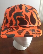 Vintage Safety Orange Realree Camo Snap Back Trucker Cap Bright Foam Hipster