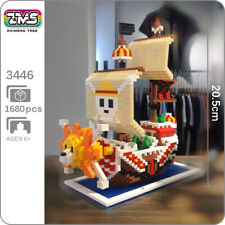 ZMS One Piece Thousand Sunny Pirates Ship Boat Mini Diamond Blocks Building Toy