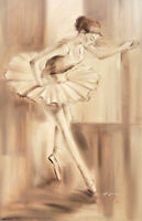 Ballerina Dancer Figure Study Practice At Barre Art 24X36 Oil Painting STRETCHED
