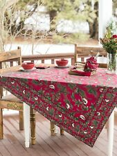 April Cornell Tablecloth Chickadee Collection 54x54 NWT 100% Cotton Red