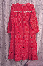 SCOTTIE DOG LONG SOFT SMOCKED 100% COTTON RUFFLE FLANNEL NIGHTGOWN GOWN~M~L~NEW