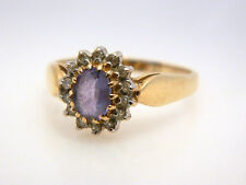 14K Yellow Gold Lavender Tanzanite Diamond Accent Solitaire Ring sz 6-6.5 Oval