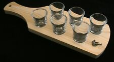 Karate Set of 6 Shot Glasses with Wooden Paddle Tray Holder 200
