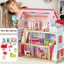 Puppenhaus Holz XXL 3 Etagen Puppenvilla Puppenstube Dollhouse + Möbel Zubehör