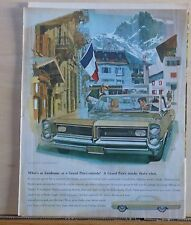1964 magazine ad for Pontiac - Grand Prix in village in French Alps, AF VK art