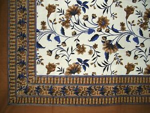 """Floral Print Tapestry Cotton Spread 104"""" x 72"""" Twin Brown"""