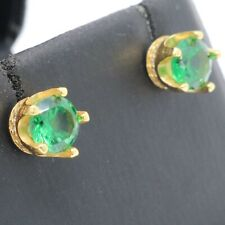 Round Emerald Stud Earrings Women Wedding Jewelry Gift 14K Yellow Gold Plated