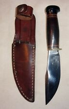Marbles Gladstone Michigan USA Hunter knife probably WW 2 Stacked Leather Handle