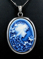 "New Royal Blue Victorian Style Lady Cameo Pendant 17"" Chain Necklace B89739082"