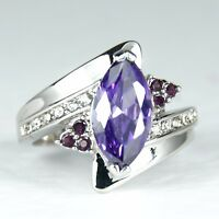 Women's 10 Carat white Gold Filled Purple Crystal Ring Jewellery