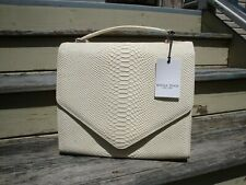 EMILY CHO White Leather Snake Python Summer Handbag Messenger Satchel Shoulderba