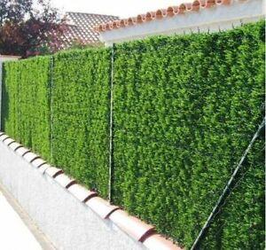 Haie artificielle verte occultante, imitation thuya - Brise vue terrasse clôture