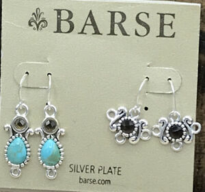 Barse DIY Finding Earrings Turquoise/Smoky Quartz- Silver Overlay- NWT