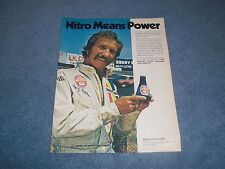 "1973 Nitro 9 Fuel Additive Vintage Ad with Marty Robbins ""Nitro Means Power"""