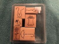 Stampin Up! 2002 The Fine Print Stamp  Set of 6  Scrapbooking  Crafts Art