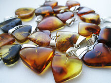 LOT - 10 BEAUTIFUL REAL BALTIC AMBER PENDANTS ,,HEARTS''