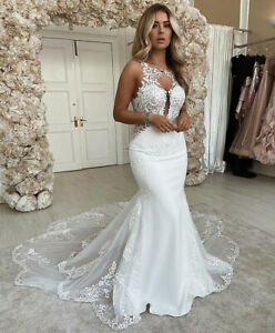 Sexy Mermaid Sleeveless Wedding Dresses Open Back Chapel Train Tulle Bridal Gown