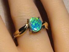 1.3 ct   Lightning Ridge Black Opal Ring 14 k Yellow Gold  Brilliant Gem color