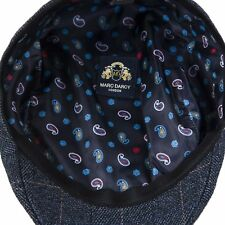 MENS MARC DARCY CHECK TWEED FLAT CAP / PEAK CAP SCOTT - BLUE