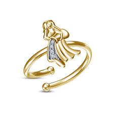 14K Yellow Gold Over D/Vvs1 Diamond Zodiac Signs Aquarius Adjustable Toe Ring